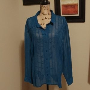 Teal avenue button up long sleeve